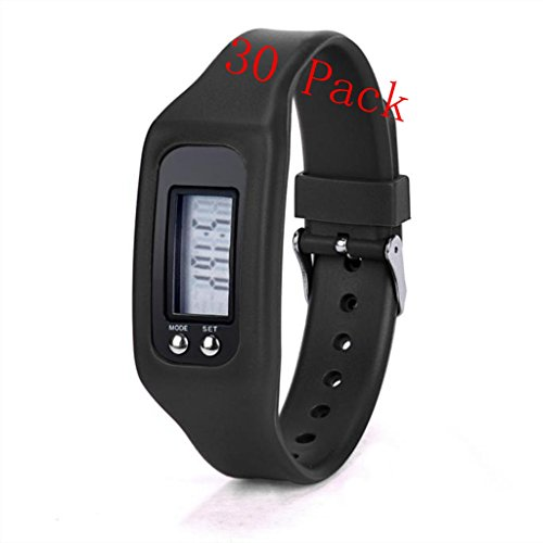 Hometom Unisex Digital LCD Pedometer Run Step Walking Distance Watch Bracelet Calorie Counter (30Pcs Black) by Hometom