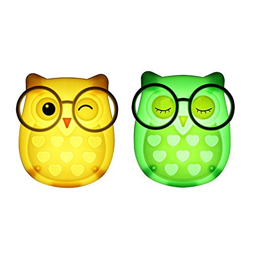 1 Pair LED Plug-in Night Light for Kids - Light Sensor Controlled Nightlights for Baby Nursing - Owl shaped Wall Lamp Take Good Care Children Sleep (Yellow + - Lite Plug