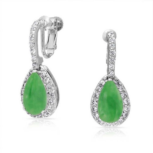 5CT Green Teardrop Pave Pear Shaped Halo Cubic Zirconia Drop Huggie Earrings CZ Simulated Jade Silver Plated Brass