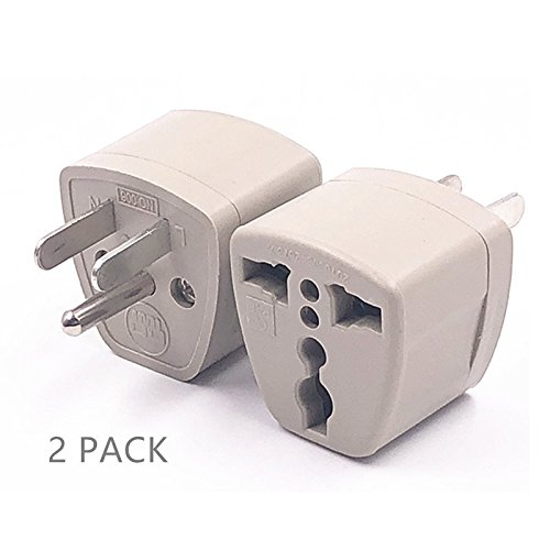 2 Packs High Performance Universal UK/EU/AU to US Adapter Travel Power Plug Adapter Converters 250V 10A Socket Converter ()
