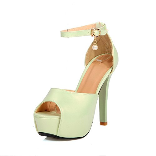 Material Peep Women's Buckle VogueZone009 Solid Toe Heels Soft Green High Sandals nwYnP65dq