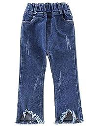 Kidscool Space Little Girls Raw Edge Legs Bell-Bottom Ripped Cotton Jeans