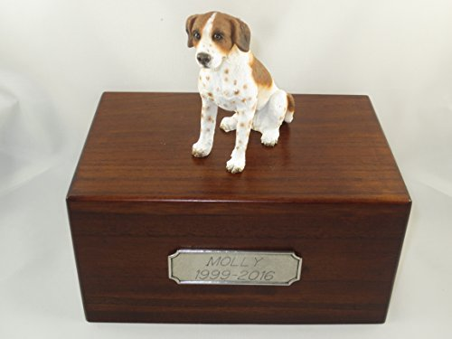 (Beautiful Paulownia Medium Wooden Urn with Brown & White Pointer Figurine & Pewter Personalized Engraving)
