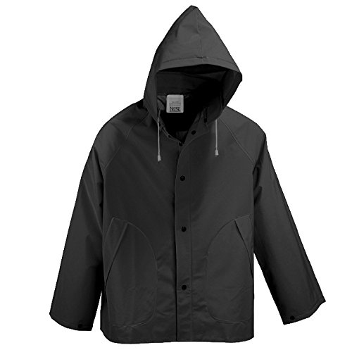 Neese Industries Style #1650C Basic Rain Wear Coat with Detachable Hood, PVC/Polyester 2XL, Black
