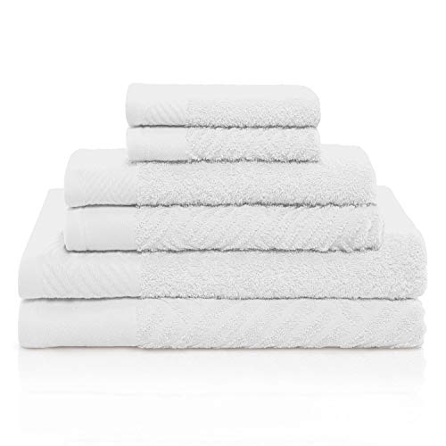 (GoLinens Luxury 100% Egyptian Cotton 6 PC Basket Weave- Jacquard and Solid Towel Set)