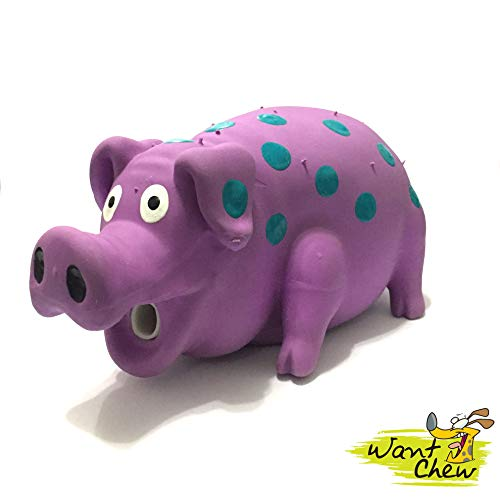 (WantChew Latex Dog Squeaky Chew Toys, Oink Oink Pig 8.3