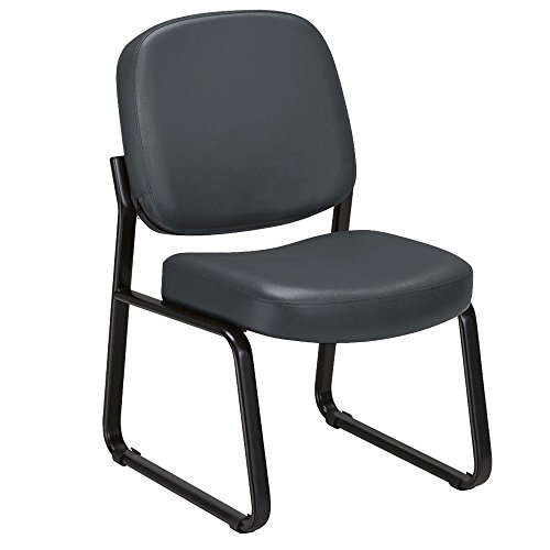 - Vinyl Armless Guest Chair Charcoal Vinyl/Black Frame Dimensions: 21.5