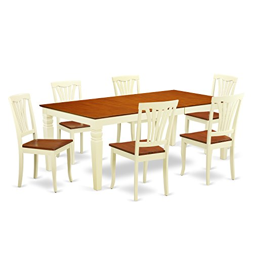 East West Furniture LGAV7-BMK-W 7 PC Dinette Set with One Logan Dining Room Table & Six Dining Room Chairs in Buttermilk & Cherry Finish