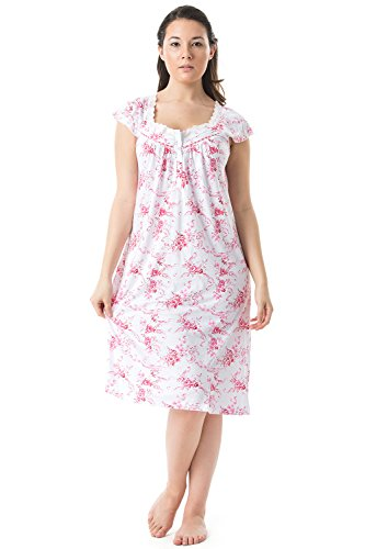 Casual Nights Women's Cap Sleeves Floral Lace Night Gown- Pink - X-Large