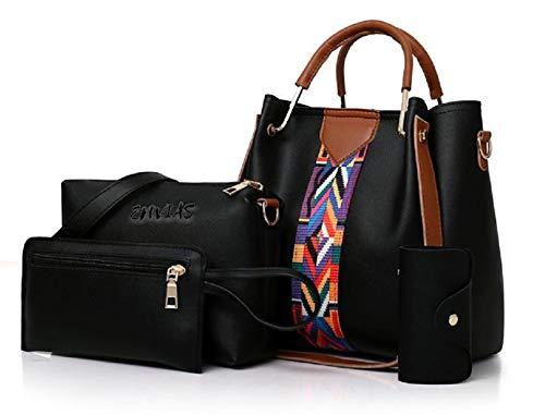 Envias Leatherette Latest Handbags For Women's Ladies Combo Of 4 (Black_PrintStrip_EVS-119-2)