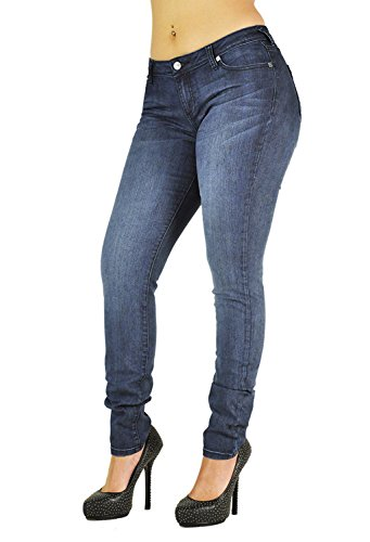 Poetic Justice Women's Curvy Fit Blue Stretch Denim Basic Skinny Hipster Jeans Size 29 x 32Length - Hipster Jeans For Women