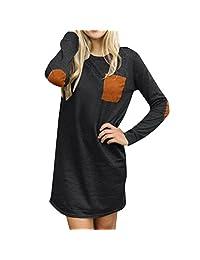 DaySeventh Womens Long Sleeve Casual Loose Short Mini Dress