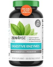 Zenwise Digestive Enzymes Probiotics and Prebiotics - Digestion and Bloating Relief for Women and Men, Lactose Absorption with Amylase & Bromelain