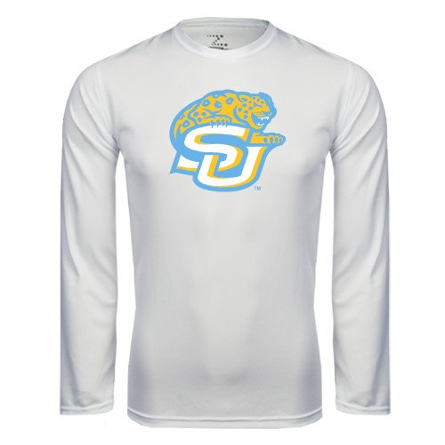 112f8921f Amazon.com   CollegeFanGear Southern University Performance White Longsleeve  Shirt  SU w Jaguar    Sports   Outdoors