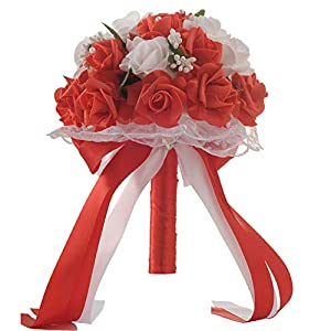 Anferstore Wedding Bouquets, Pearl Silk Roses Bridal Bridesmaid Wedding Hand Bouquet Artificial Fake Flowers for Wedding, Party and Church (Red) 120