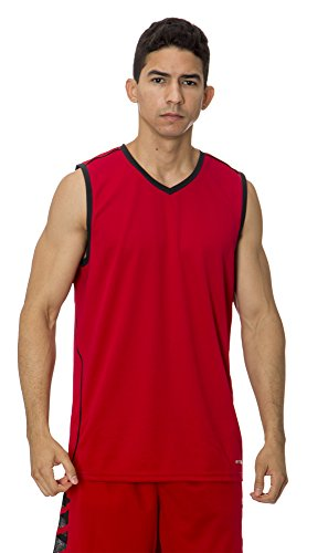 fan products of (BU3000) AeroSkin Dry Mens Sleeveless Basketball Shirt with Laser Cut Inserts in Red / Black Size: S