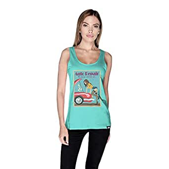 Creo Auto Repair Beach Tank Top For Women - S, Green
