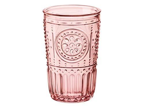 Bormioli Rocco Romantic 090796 Set of 4 Glasses, Glass, Pink Colour, cl ()
