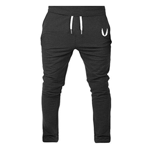 Perman Mens Pants, Casual Elastic Fitness Workout Running Gym Sportswear Pants Trousers, Cheap Stuff (M, Black) ()