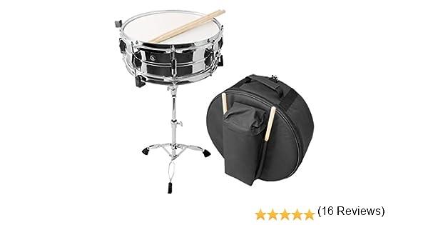 Essentials - Caja de percusión de 35,5 cm con soporte, palos y estuche de viaje, acabado cromado: Amazon.es: Instrumentos musicales