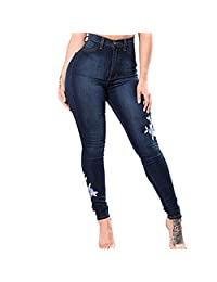 TIMEMEANS Ladies Embroidered with High Elasticity Straight Barrel and Tight Legs Jean