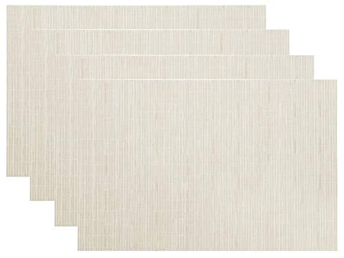 LivebyCare 4 pcs Home Low Profile Non-slip Textilene PVC Placemats Stain Resistant Kitchen Table Mats Heat-resistant Decoration Washable Anti-Skid Set of 4 11.8X17.7 In, Off White