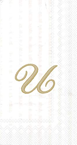 (Ideal Home Range 3-Ply Paper Monogram Guest Towel, White/Gold (Pack of 2) (2, Letter U))