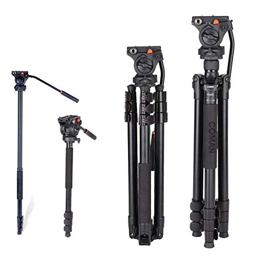 "Tripod, COMAN 71"" Camera Tripod Ultra Compact Lightweight Aluminum Tripod with Fluid Head for DSLR, Monopod, Tripod for OSMO, Ideal for Vlog, Travel and Work"