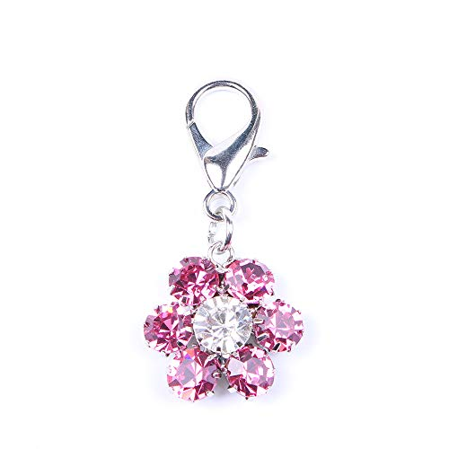 SKS PET Bling Rhinestones Flower Charm Pendant Jewelry for Female Pet Dog Cat Necklace Collar Accessory (Pink)