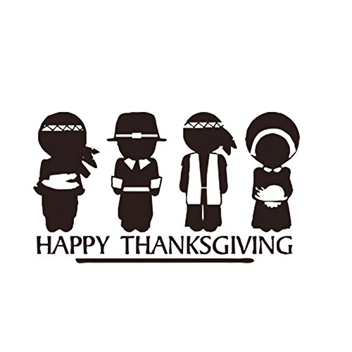 JIAHUI Happy Thanksgiving Pilgrims and Indians Removable Home Art Wall Decal quote Sitting Bedroom Room sticker -