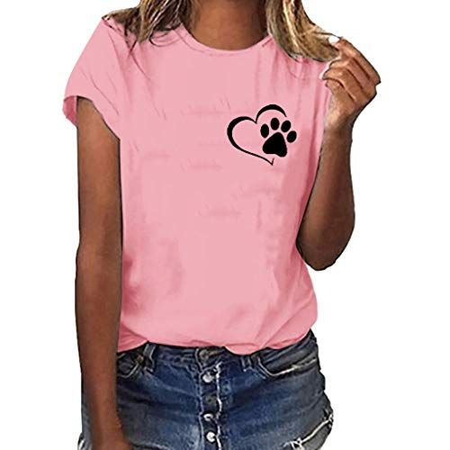 O-Neck Women Plus Size Paw Print Shirt Short Sleeve Blouse Solid Color Tops