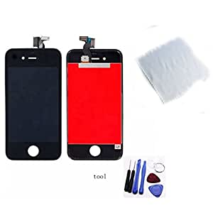 Highsound Hot LCD Touch Digitizer Display Parts Assembly for Iphone 4s Black w/ Free Clouth