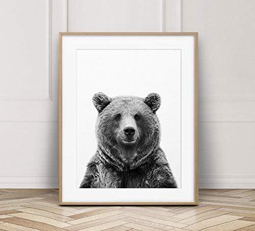 MalertaART Bear Print Bear Wall Art Black And White Animal Print Woodland Animals Animal Prints Woodland Nursery Decor Kids Room Printable Art Framed Wall Art