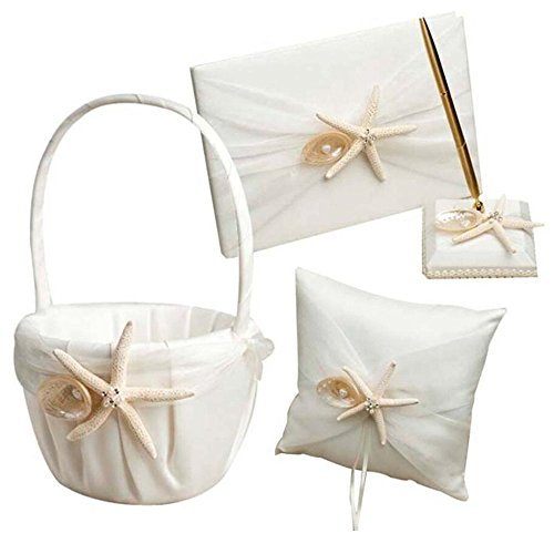 Seashell Wedding Guest Book - 4Pcs Romantic Wedding Ceremony Party Favor Sets, Beach Theme Starfish Seashell Design Wedding Ring Pillow+ Girls Flower Basket+Guest Book +Pen Set for Elegant Wedding Party Wedding Decoration Supplies