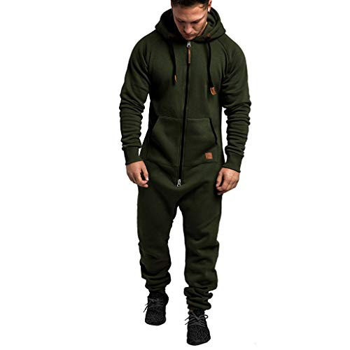 WUAI Onesie Men's Hooded Jumpsuit Zip Up One Piece Pajamas Playsuit Jogger Sweatsuit Overall Romper (Army Green,X-Large)