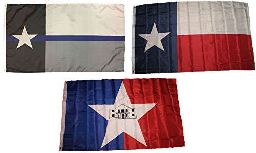 ALBATROS 3 ft x 5 ft Police Blue with State of Texas with City of San Antonio Flag Set for Home and Parades, Official Party, All Weather Indoors Outdoors -