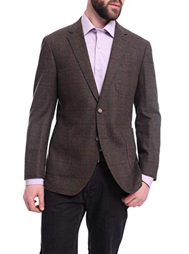 Napoli Slim Fit Green & Brown Plaid Half Canvassed Flannel Wool Sportcoat