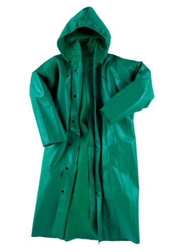 Neese 96AC Flame Resistance PVC/Polyester Chem Shield 96 Coat with Attached Hood, Medium, Green