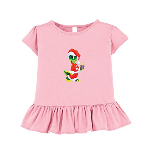 [Dinosaur In Santa Suite Toddler Girl Ruffle Fine Jersey T-Shirt Tee 5/6T Soft Pink] (Santa Suites)