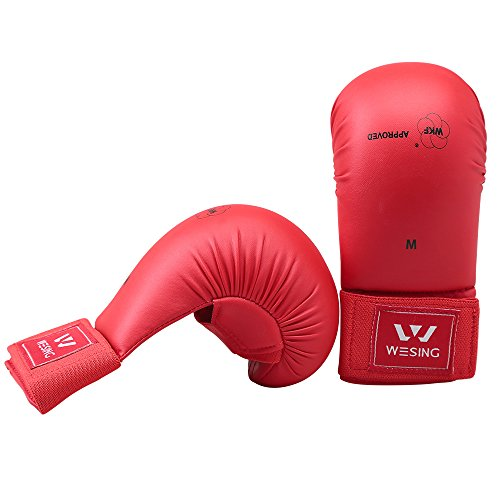 Wesing WKF Sparing Karate Gloves Without Thumb Protection Blue ()