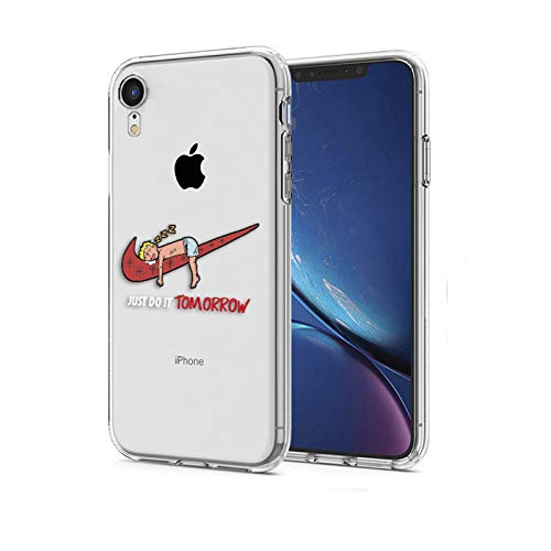 online store 504c1 3d84d iPhone XR Case, Nike Just Do it Tomorrow Spoof Parody 3D Printed Cartoon  Design Soft Clear Cute Funny Ultra Slim Case