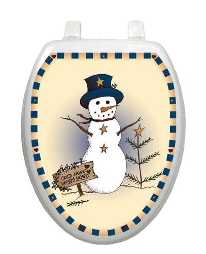 Americana Snowman Toilet Tattoo TT-X621-O Elongated Winter Snow Christmas