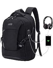 Tzowla Travel Laptop Backpack Water Resistant Business Backpack USB Charging Port Computer Backpack Men Women College School Bag Fit 16 inch Laptops… (Black)