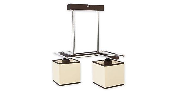 Elegante lámpara colgante en color wengué Beige Bauhaus 2 x E27 hasta 60 W 230 V de acero & textil Salón comedor lámpara lámpara interior iluminación: Amazon.es: Iluminación