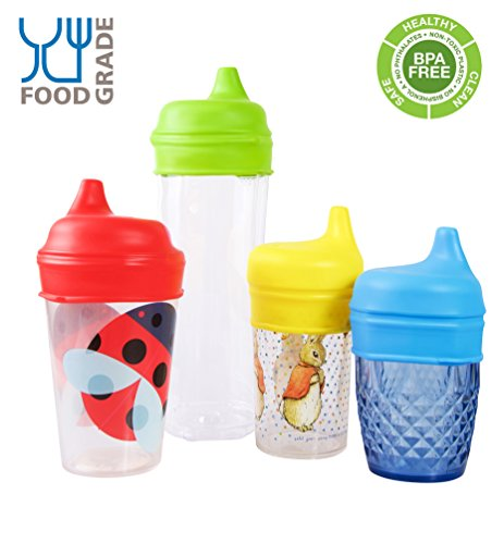 Tiny Angel 4-Pack Silicone Sippy Lids /Tops ~ 100% Safe ~ For Any Cup