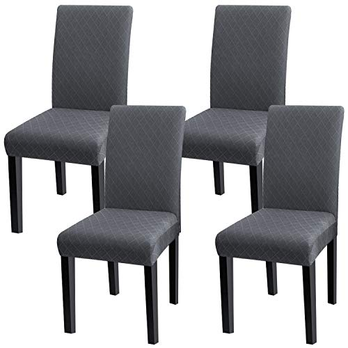 Fuloon Super Fit Stretch Jacquard Removable Washable Short Dining Chair Covers Seat Slipcover for Hotel,Dining Room,Ceremony,Banquet Wedding Party (4, GY)