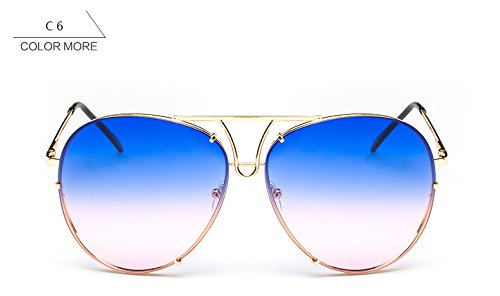 Oro piloto sin bastidor de nuevo ZHANGYUSEN sol rosa sobredimensionado gafas plata azul claro gafas de Señoras reborde sol azul grande mujer mujeres para qgpvw4RE