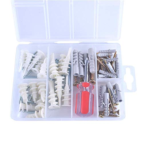 77 Piece Anchor Hardware Set. Large Heavy Duty 50 75 LBS Self Drilling Hanging Pictures Concrete TV Furniture Shelves Mount Nylon Drywall Anchors W/ Screws Assortment Kit. Bonus Phillips Screw ()