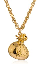 Goldtone Long Chain Necklace with Bag of Money Pendant