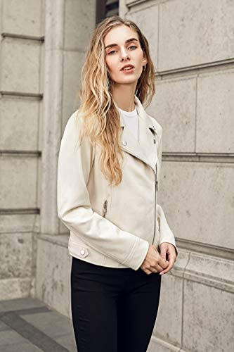 WOMEN FAUX SUEDE MOTO JACKET WITH NOTCH COLLAR